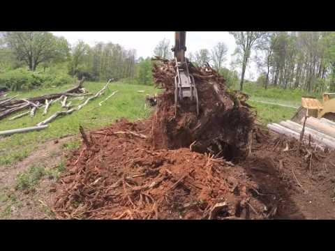 Monster stump removal in high speed! Komatsu PC200.