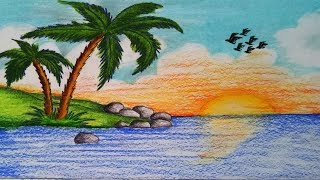 How to draw scenery of Islands.Step by step (easy draw)