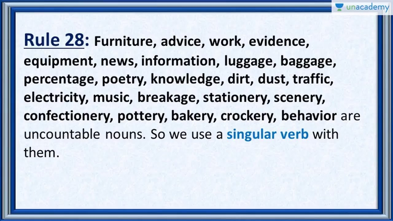 Subject Verb Agreement Rule 28 How To Use Uncountable Nouns In