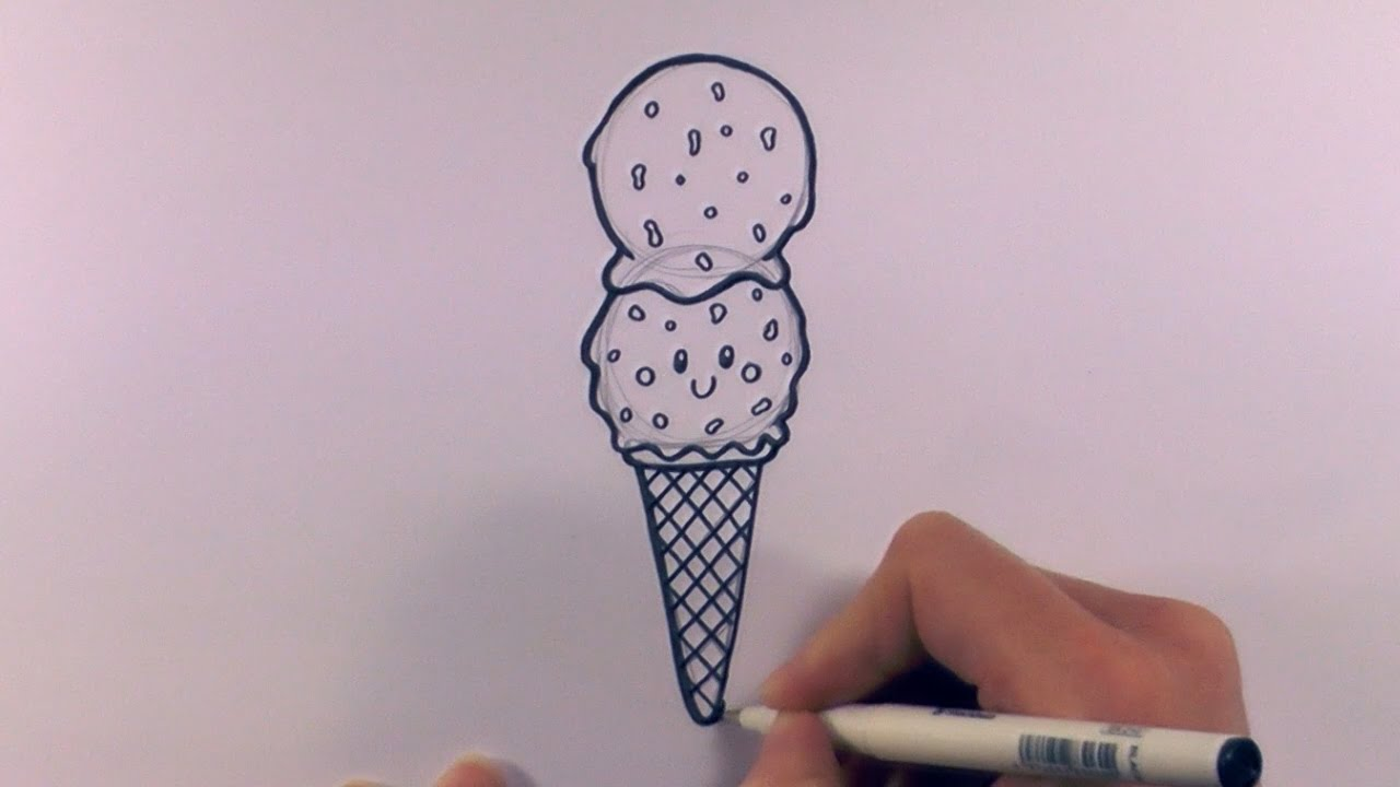 How To Draw A Cartoon Double Scoop Chocolate Chip Ice Cream