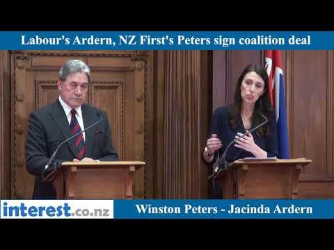 Jacinda Ardern, Winston Peters sign coalition agreement