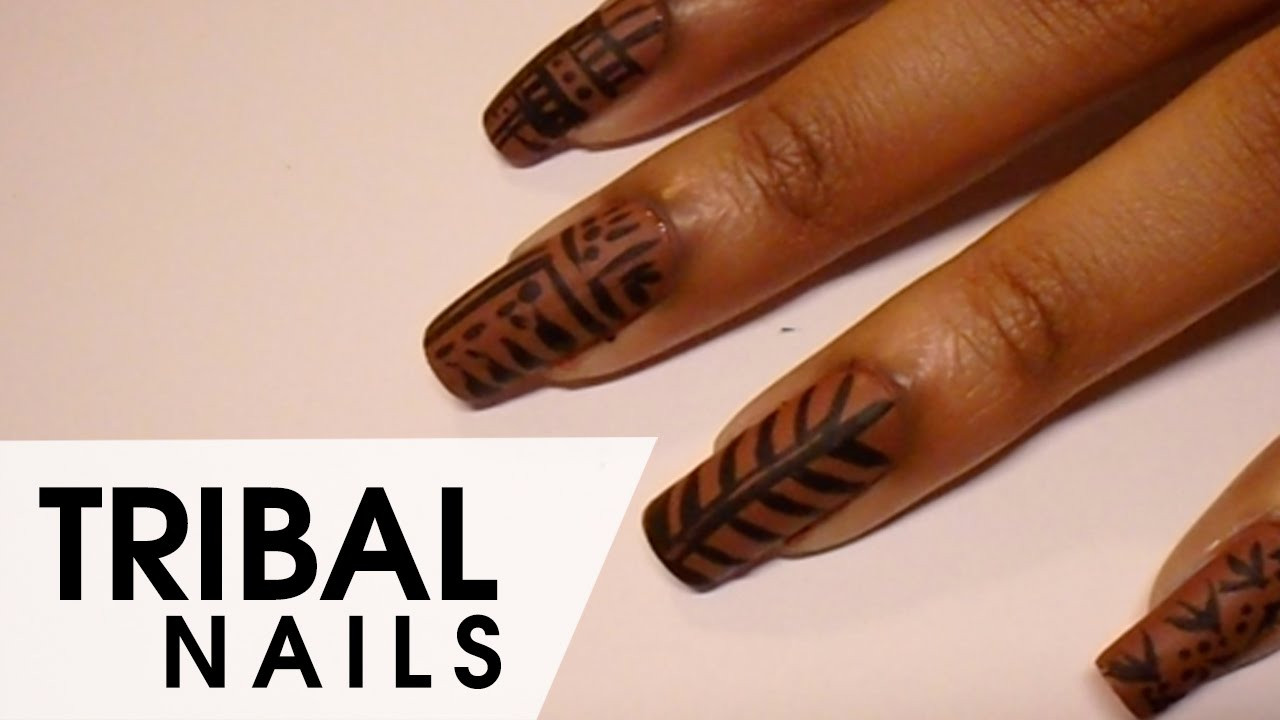 Simple Tribal Nails with a Nice Surprise! - YouTube