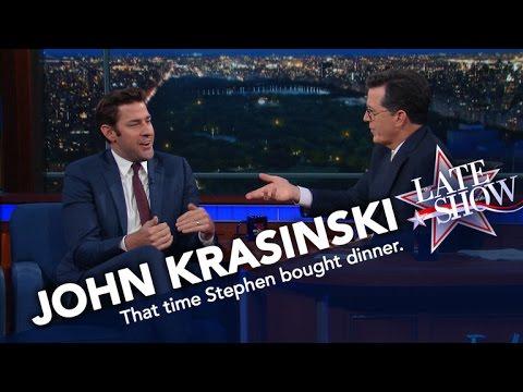 John Krasinski vs. Stephen Colbert: Who Paid for Dinner?