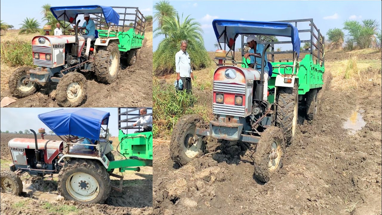 Eicher 242 Tractor with Loaded Trolley Stuck Badly in Mud Last year memories Camera 🎥 2