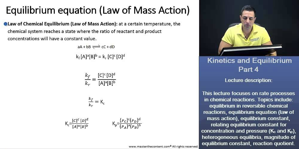 PCAT: Chemical Equilibrium, Law of Mass Action, Writing Eq  Constant  Expression