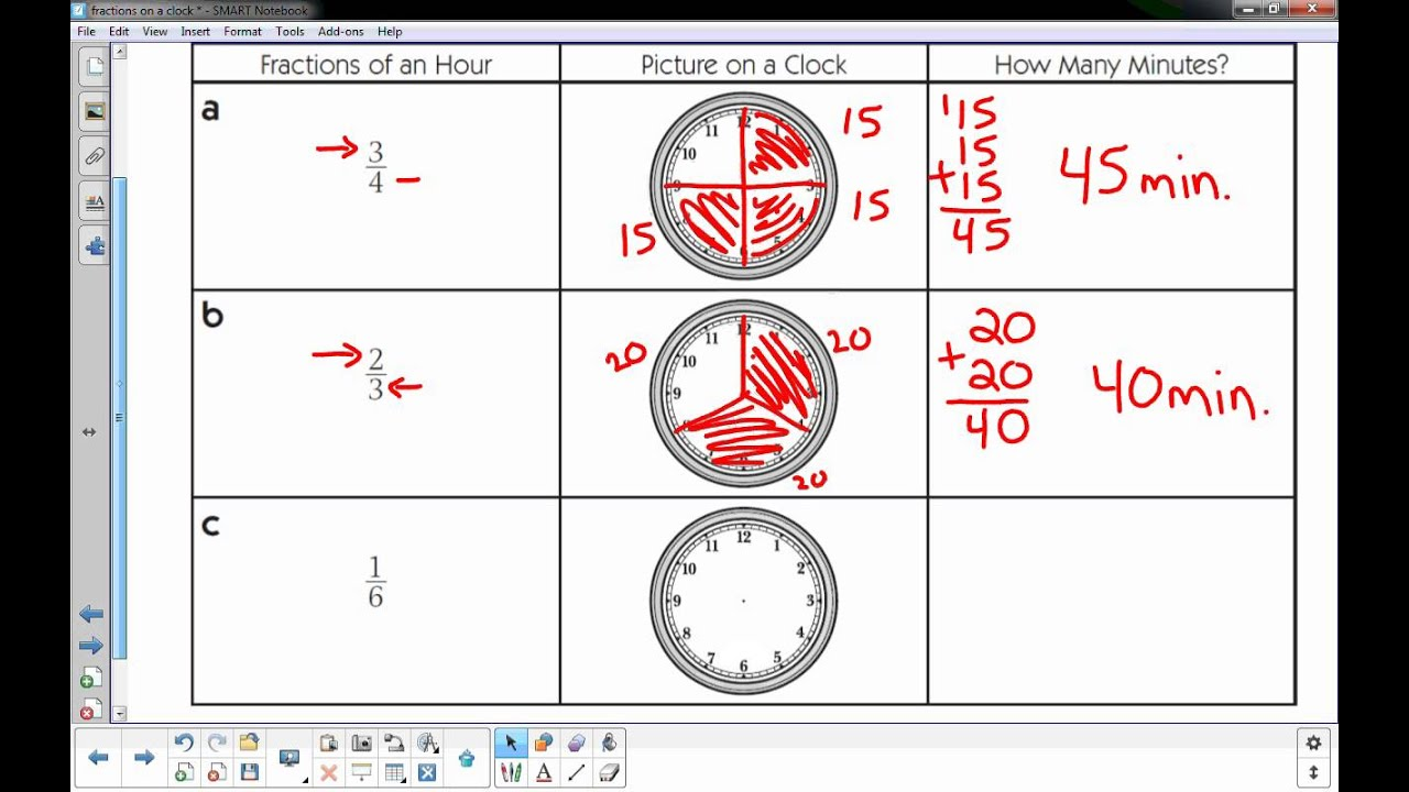 Fractions On A Clock