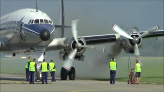 [HD] Super Constellation smokey engine startup and takeoff at Altenrhein - 08/07/2015