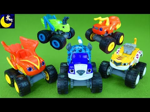 Thumbnail: Blaze and the Monster Machines Wild Wheels Animal Stunts Playset Falcon Blaze Cheetah Crusher Toys