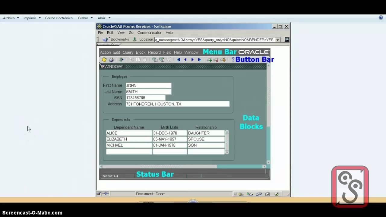 02 Oracle Forms And Reports 11g Curso en Español – UI, Conceptos sobre  Formularios en Oracle