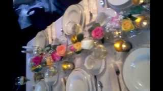 Roses Place Setting at Mansion on the Lake Cleveland Ohio Beach Mansion Weddings