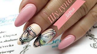 бабочки в дизайне ногтей  Крупная яркая и нежная бабочка