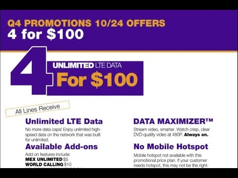 New metroPCS plans  , Now 4 lines unlimited for($100) monthly starts Oct/24/2017