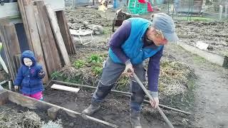 Zu schwere Gartenarbeit, die Kinder müssen ran! Beeteinfassungen bauen, Rundumblick, Hühnersuppe