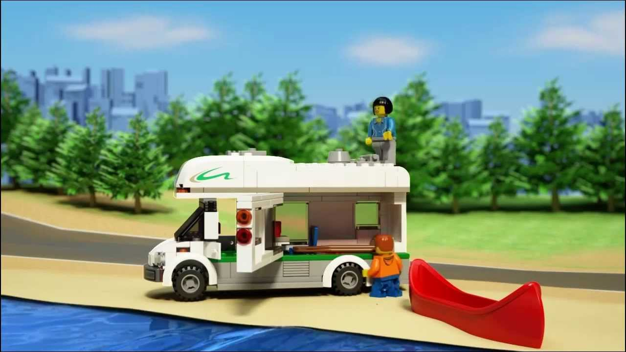 lego city great vehicles 60057 camper van lego 3d review youtube. Black Bedroom Furniture Sets. Home Design Ideas