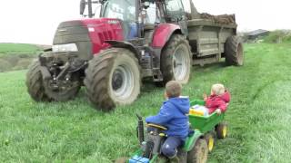 Kids on tractors in the mud, real tractors muck spreading on the farm, children 'Mr Tractor'
