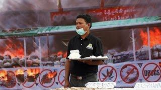 شاهد.. ميانمار تحرق مواد مخدرة بـ20 مليون دولار