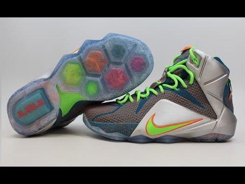 "Nike LeBron XII 12 Premium ""Trillion Dollar Man"" 705410-430 KixRx.com Blue/Green-Silver"