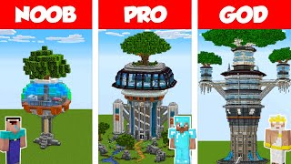 Minecraft NOOB vs PRO vs GOD: CYBERPUNK TREE HOUSE BUILD CHALLENGE in Minecraft / Animation