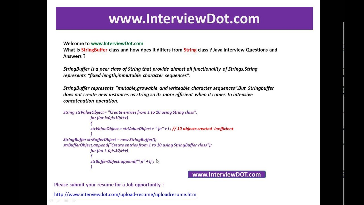 what is stringbuffer and how does it differs from string class what is stringbuffer and how does it differs from string class java job interview