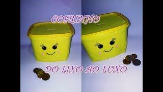 DIY DO LIXO AO LUXO COFRINHO KAWAII(RECICLANDO POTE DE MARGARINA)