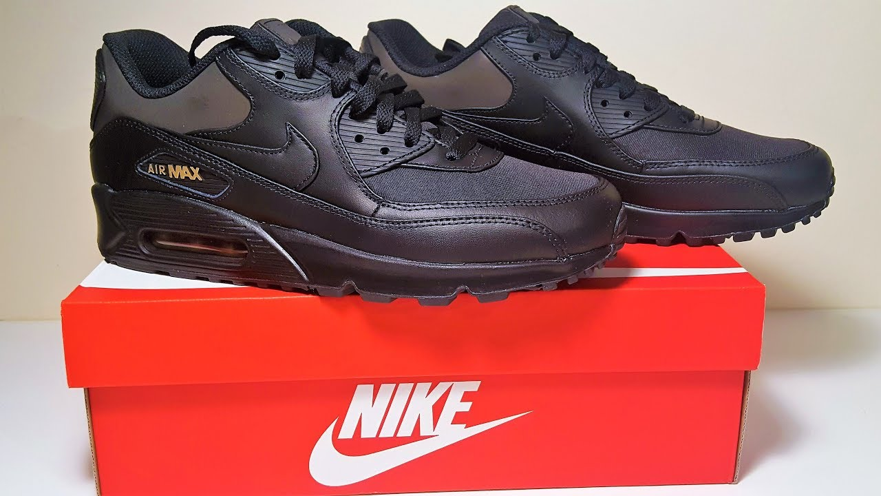 new concept 23026 7b49c Nike Air Max 90 Premium Black Gold Trainers Unboxing and Review