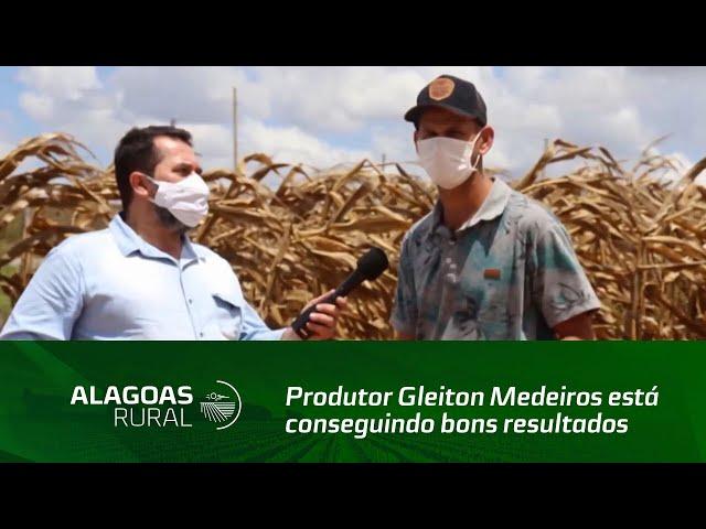 Produtor Gleiton Medeiros está conseguindo bons resultados com uma variedade de milho no sertão