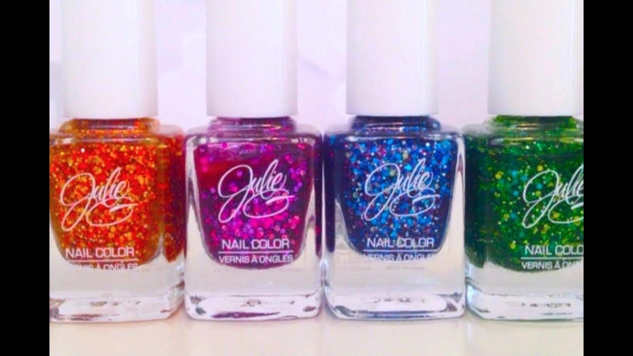 NEW JulieG GLITTER Nail Polish Collection: Mardi Gras - YouTube