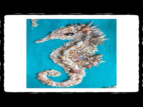 Sea Shells & Sand by The Sea - Mixed Media Seahorse