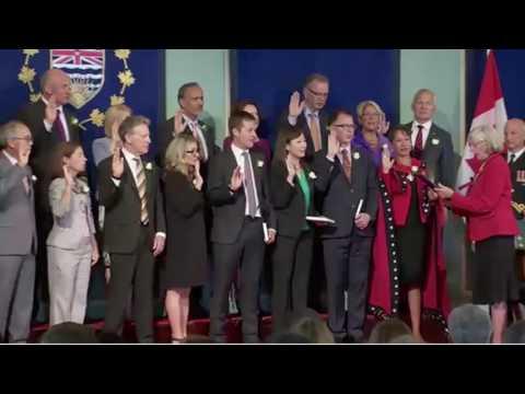 John Horgan's NDP sworn into government in British Columbia - 18 Jul 2017