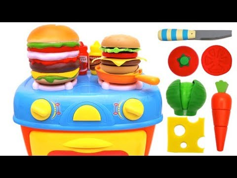 Toy Kitchen Playset Making Hamburger Learn Food Names Toy
