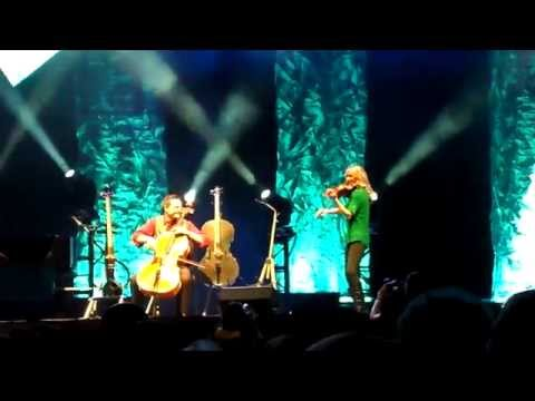 Julie Nelson, wife of Steven Sharp Nelson with The Piano Guys at Energy Solutions Arena
