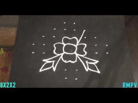 Simple Flower and Deepa Rangoli Design with Beautiful Colours and Dots 8x2x2   Easy Daily Kolam