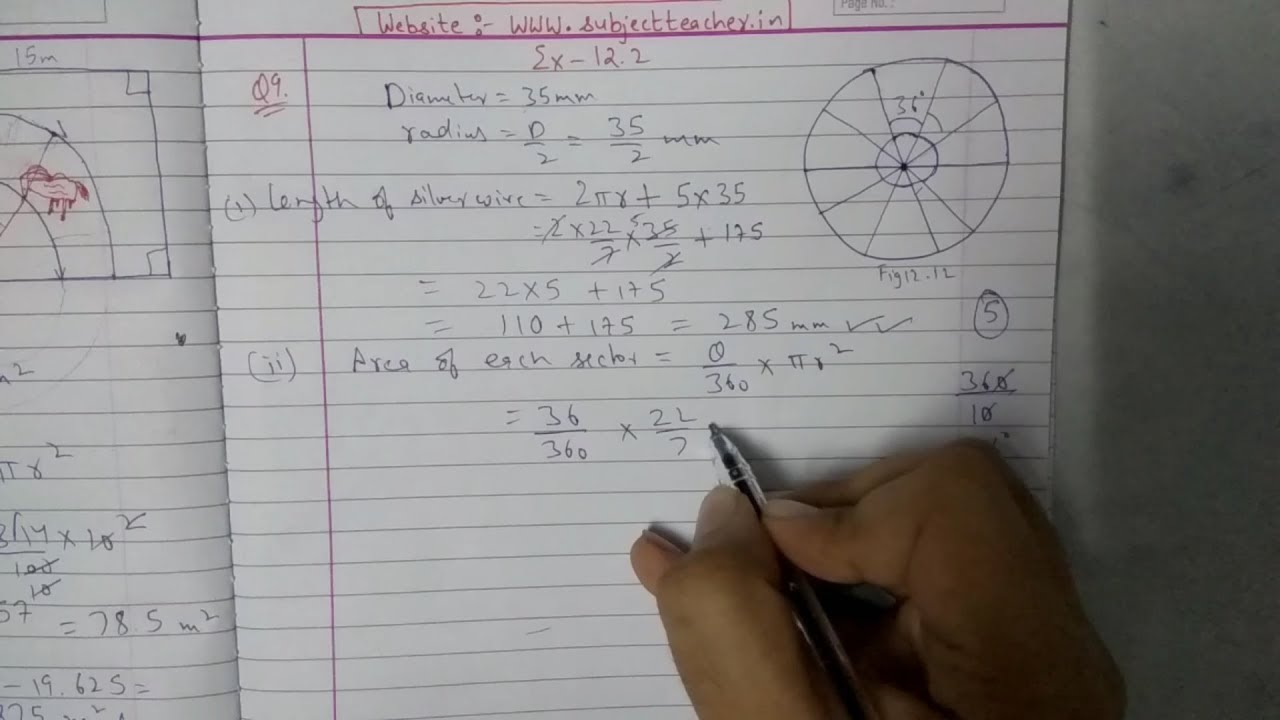 Chapter 12 Exercise 12 2 (Q9 Q10 Q11) Area Related To Circles || Class 10  Maths NCERT
