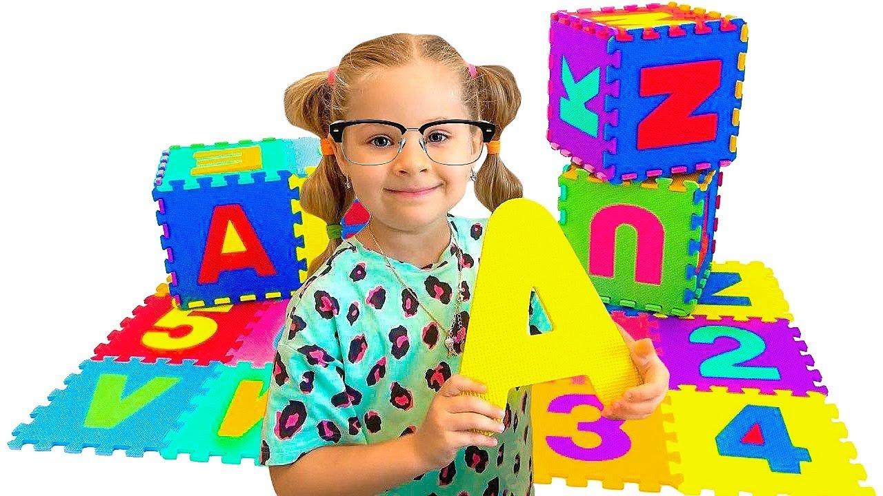Diana dan Roma belajar alfabet bahasa Inggris