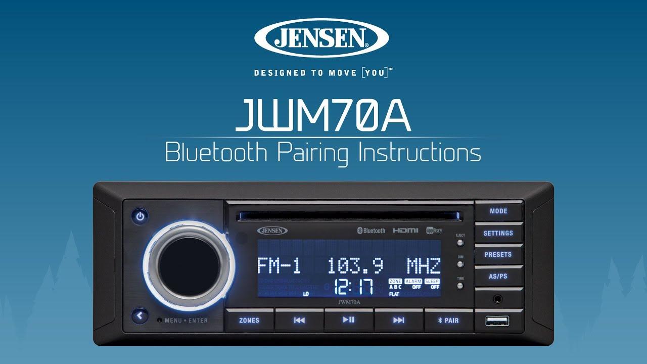 Jensen 174 Jwm70a Bluetooth Pairing Instructions Youtube