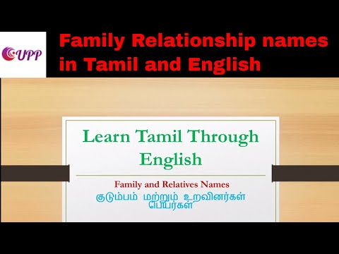 Family Relationship names in Tamil and English - YouTube