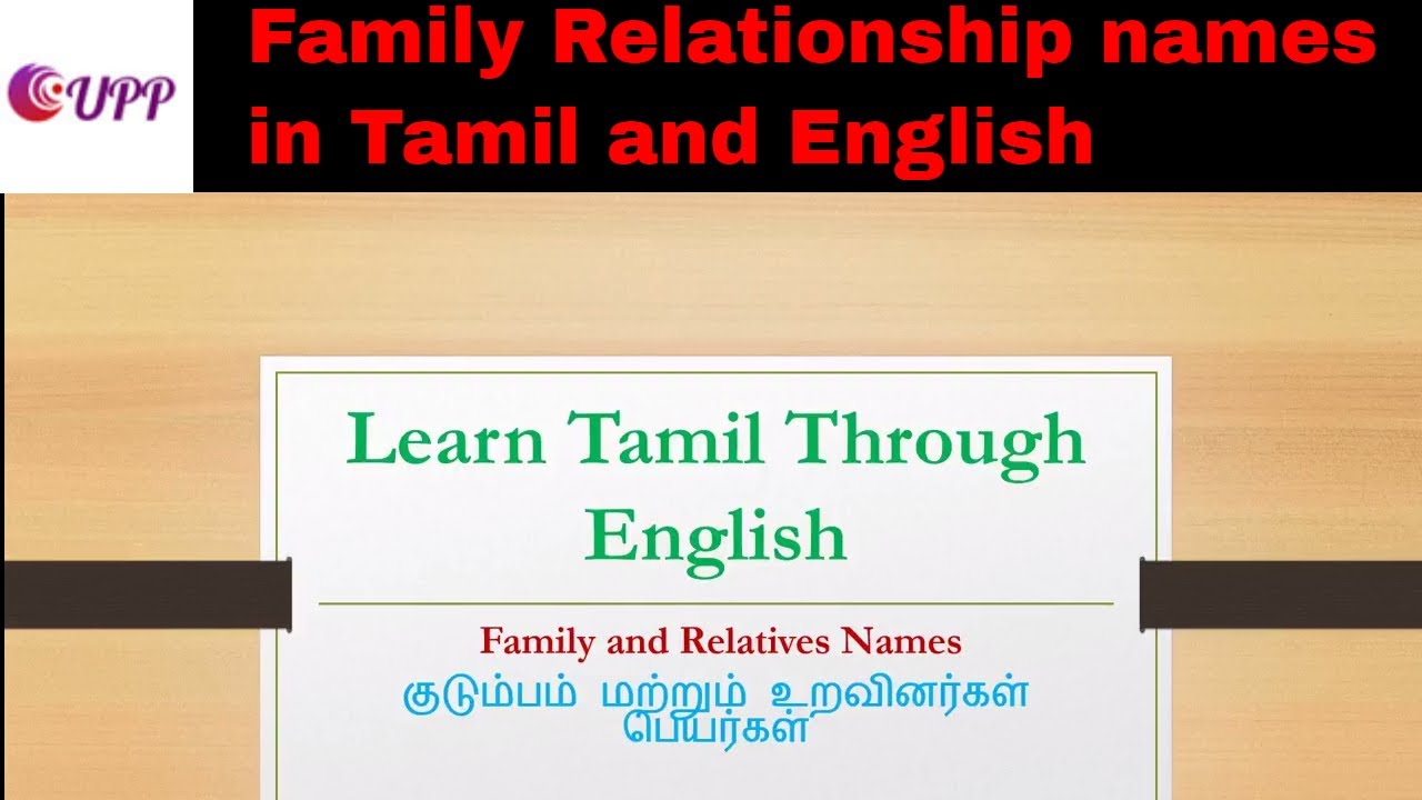 Family Relationship names in Tamil and English