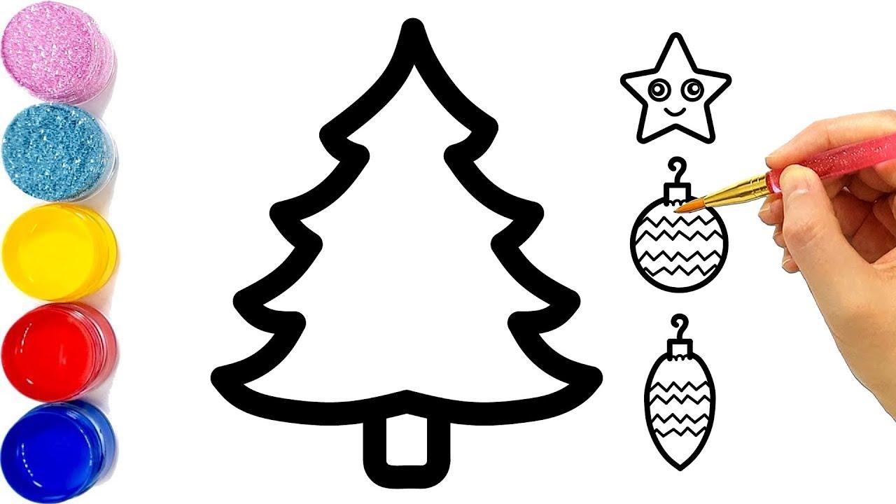 Vẽ cây giáng sinh đơn giản cho bé tô màu | Glitter ...