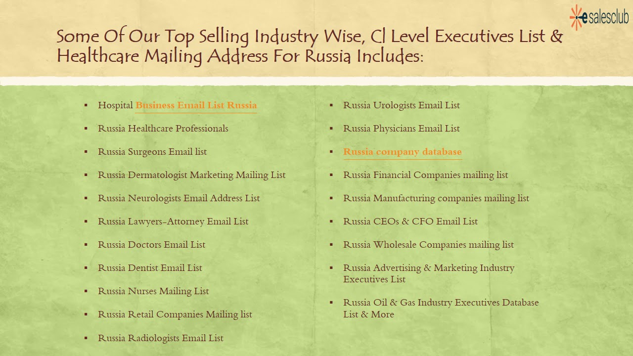Best Russia Business Email List   Russia Executives B2B