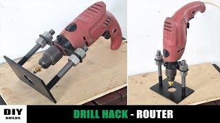 Make A Router Attachment For Drill Machine | DIY