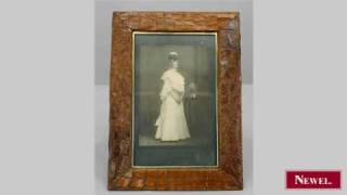 Antique English Light Brown Crocodile Easel Picture Frame