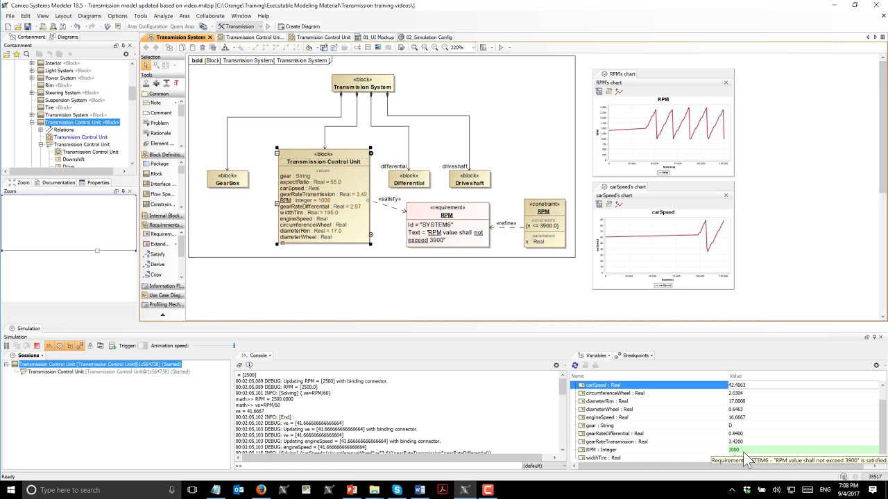 Executable Sysml Transmission Model Youtube