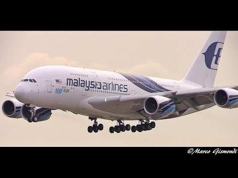 Malaysia Airlines A380-841 [100th A380] landing at London Heathrow 09L