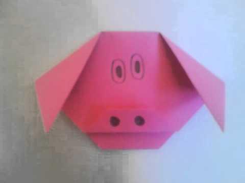 origami schwein falten diy origami basteln mit papier doovi. Black Bedroom Furniture Sets. Home Design Ideas