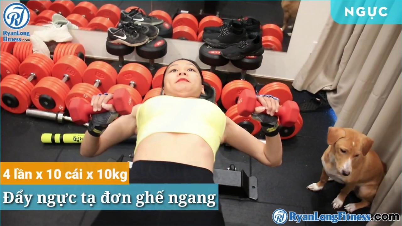Đẩy ngực tạ đơn ghế ngang   Nữ   Junie HLV Ryan Long Fitness