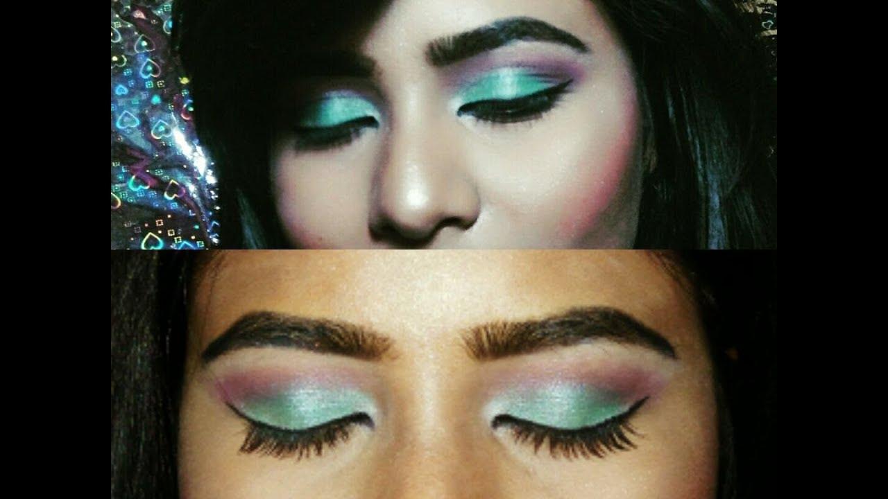 Sea green eye makeup look ll eyeshadow hack - YouTube