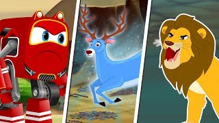 Lion Chases the Magical Deer and Dinosaur Rescued by Supercar Rikki  Kids Cartoon Songs