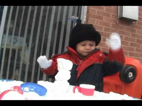 Abel kanes 1st time playing in snow