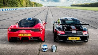 DRAG RACE!! 458 SPECIALE vs 997 GT3 RS 4.0