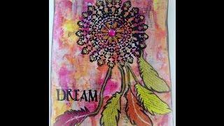 Art Journal page-  Dream catcher/ Art journaling for beginners, how to art journal